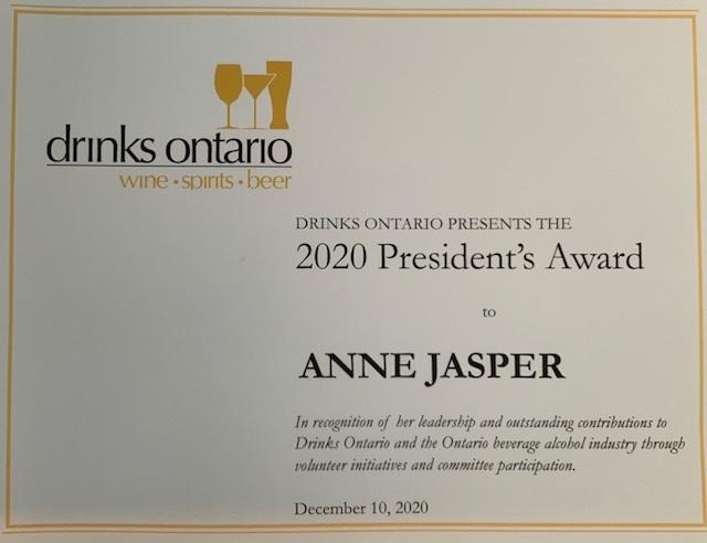 Drinks Ontario 2020 President's Award